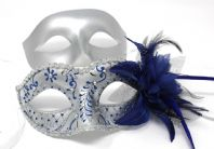 Silver and Blue Flick Flower Masks